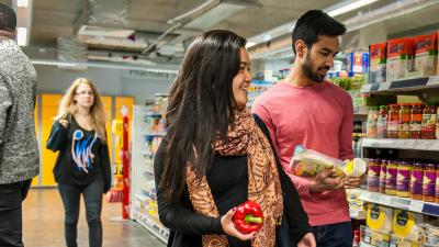 Students shopping in the on-site supermarket on Stag Hill campus